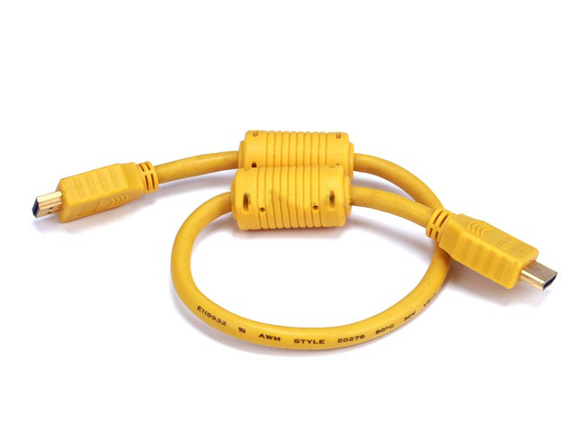 28AWG High Speed HDMI Cable w/Ferrite Cores - Yellow